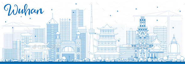 Outline Wuhan Skyline with Blue Buildings. - Buildings Objects