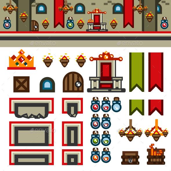 Inside Castle Flat Game Level Kit - Backgrounds Game Assets