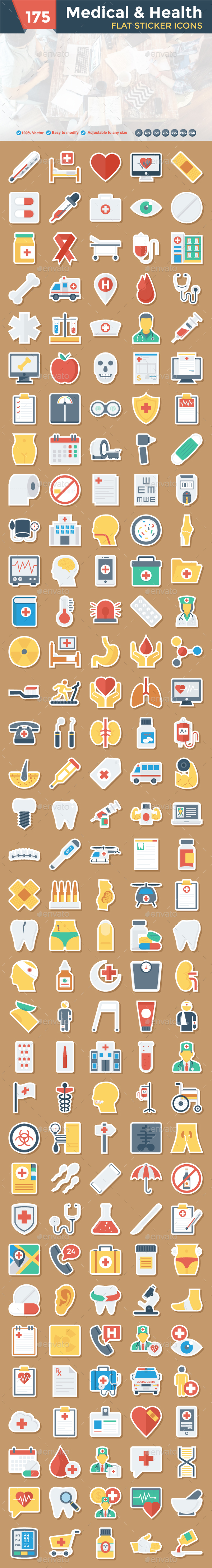 Medical & Health Flat Paper Icon - Icons