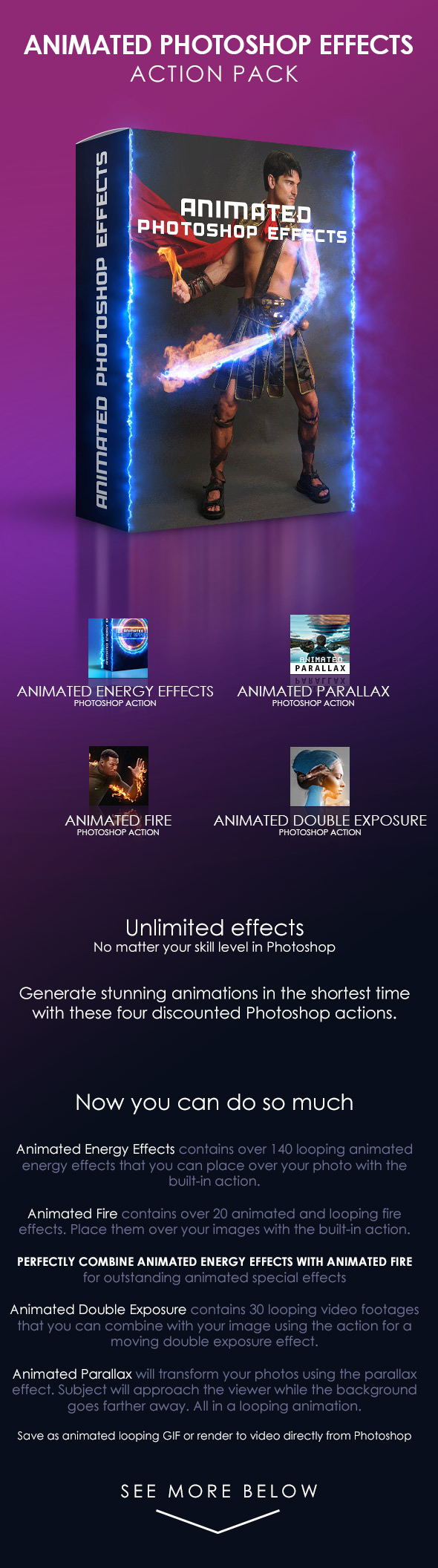 Animated Photoshop Effects Action Pack - Photo Effects Actions