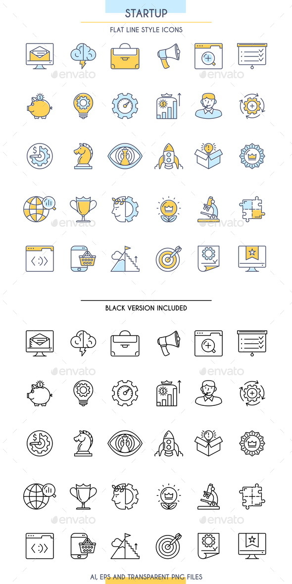 Startup Outline Icons Set - Business Icons