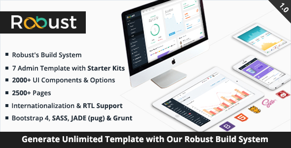 Robust – Responsive Bootstrap 4 Admin Template + Build System