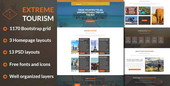 Extreme Tourism - Tourism & Adventure PSD Template