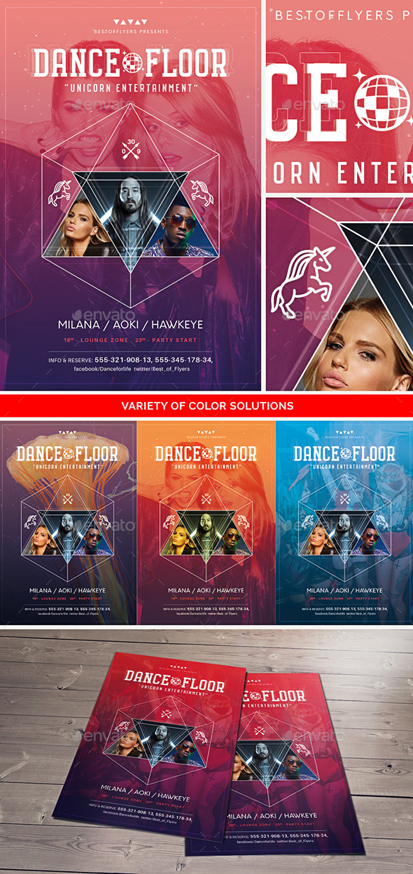 Dance Floor Flyer Template - Clubs & Parties Events