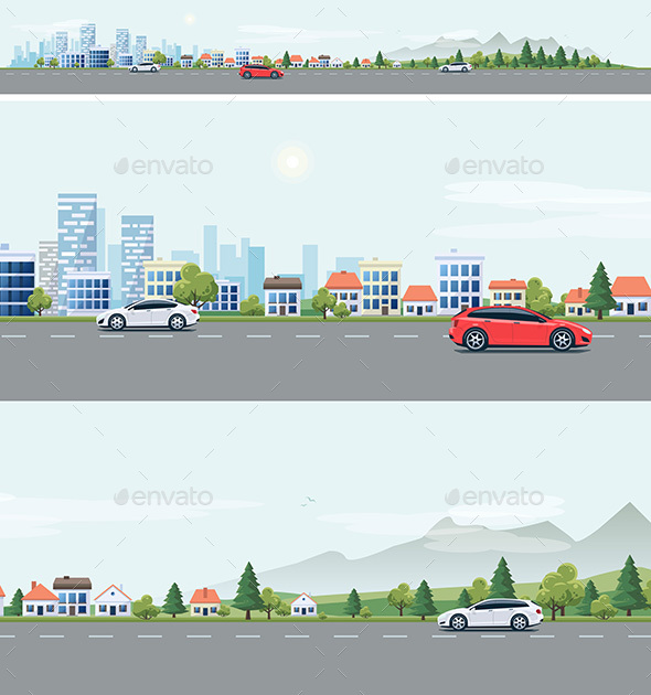 Urban Landscape with Cars and City Nature Background - Buildings Objects