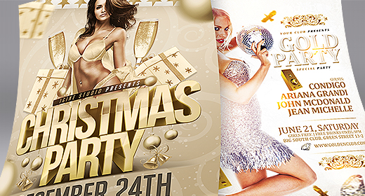 Christmas New Years Eve Flyer Templates