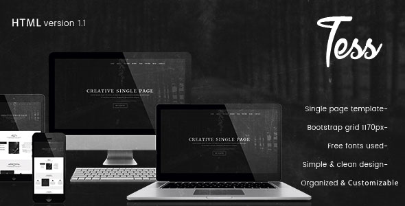Tess - Single Page HTML Template - Creative Site Templates