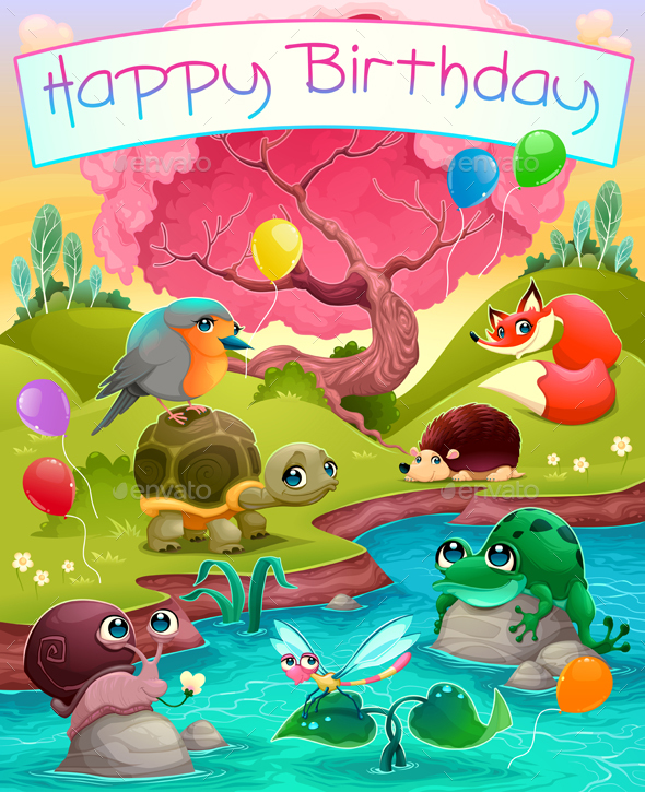 Happy Birthday Card with Animals in the Countryside - Birthdays Seasons/Holidays