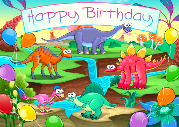 Happy Birthday Card with Dinosaurs by ddraw | GraphicRiver