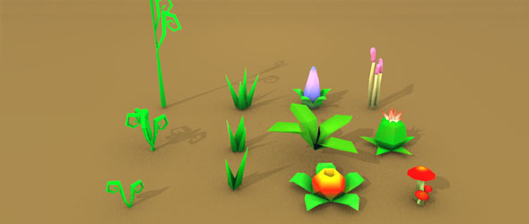 Lowpoly jurassic plants - 3DOcean Item for Sale