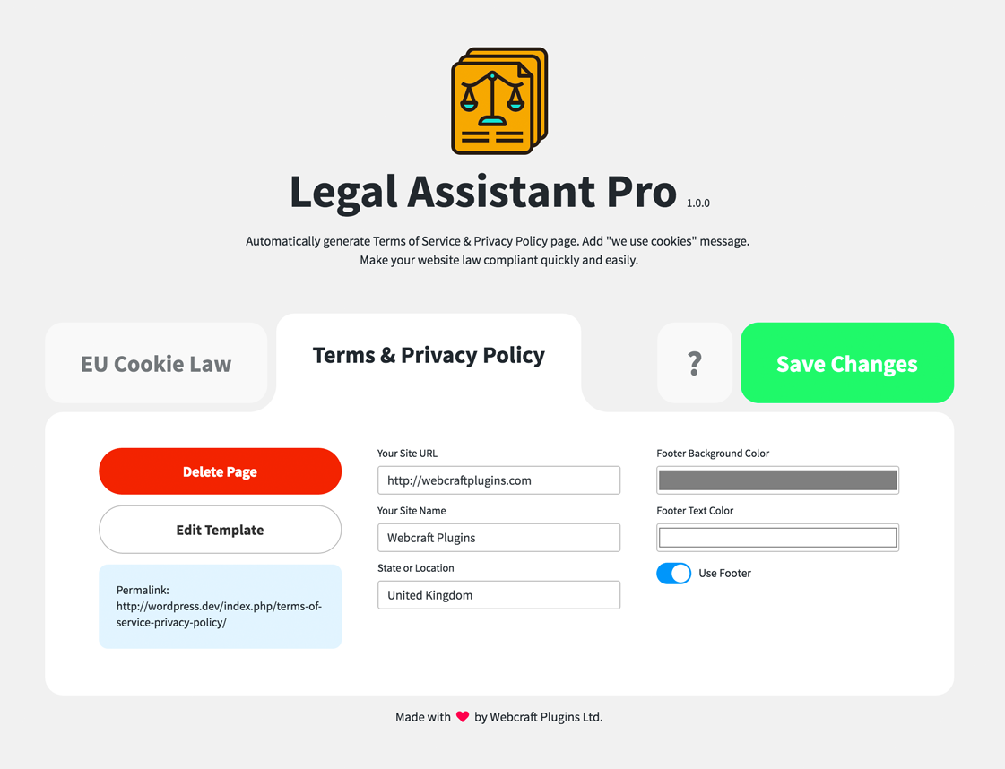 Legal Assistant Pro EU Cookie Law Terms Privacy Generator By Nickys - Privacy page template
