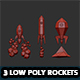 Set of 3 Low Poly Rockets - 3DOcean Item for Sale