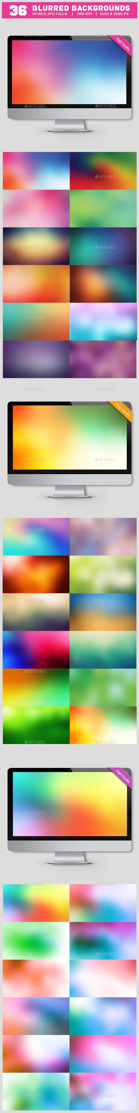 36 Blurred Backgrounds Bundle - Backgrounds Graphics