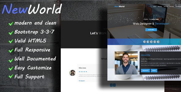 NewWorld - Responsive Personal Portfolio Template - Personal Site Templates
