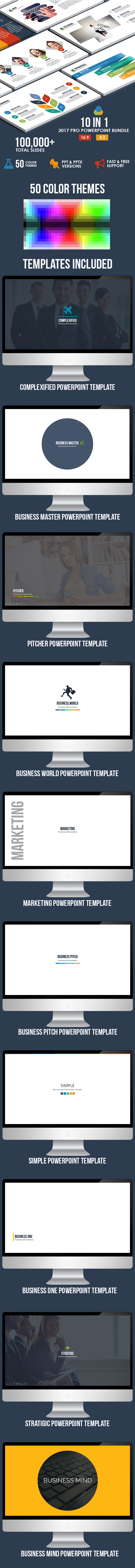 10 IN 1 - 2017 Pro Powerpoint Bundle - Business PowerPoint Templates