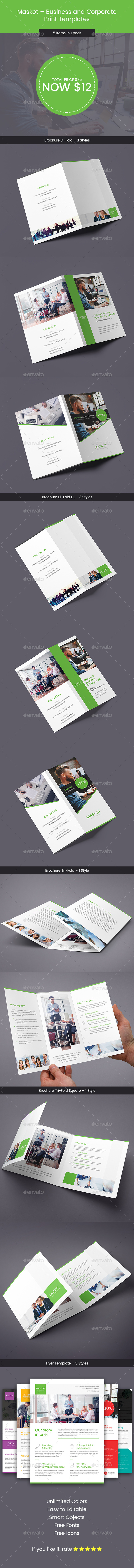 Maskot – Business and Corporate – Bundle Print Templates 5 in 1 - Corporate Brochures