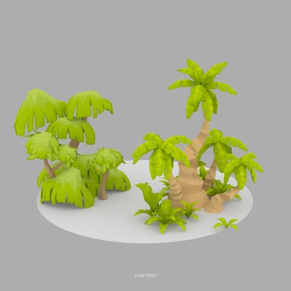 Cartoon Oasis Plants - 3DOcean Item for Sale