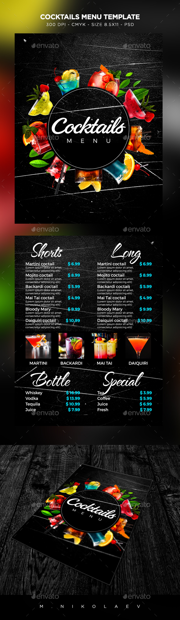 Cocktail Drinks Menu By MaksN GraphicRiver - Cocktail menu design templates