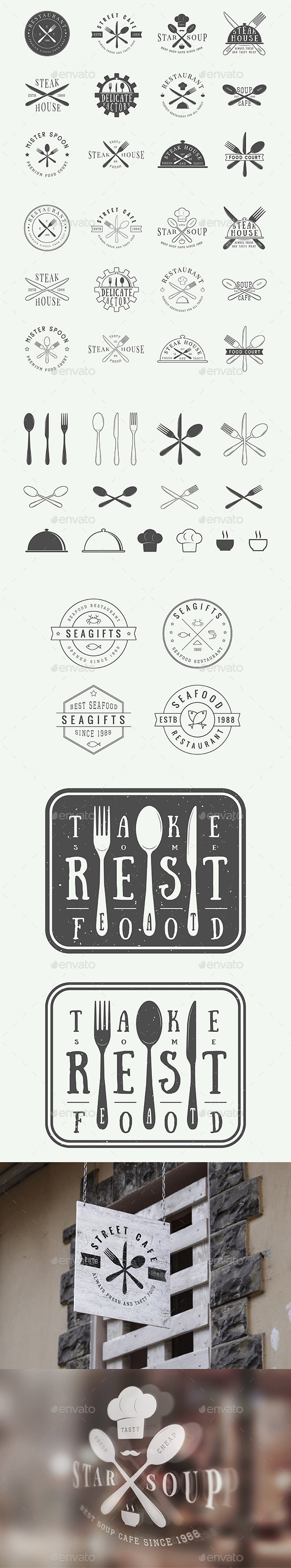 Vintage Restaurant Emblems - Badges & Stickers Web Elements