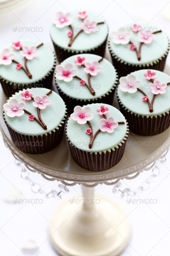 Cherry blossom cupcakes - Stock Photo - Images