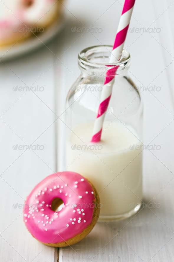 Doughnut and milk - Stock Photo - Images
