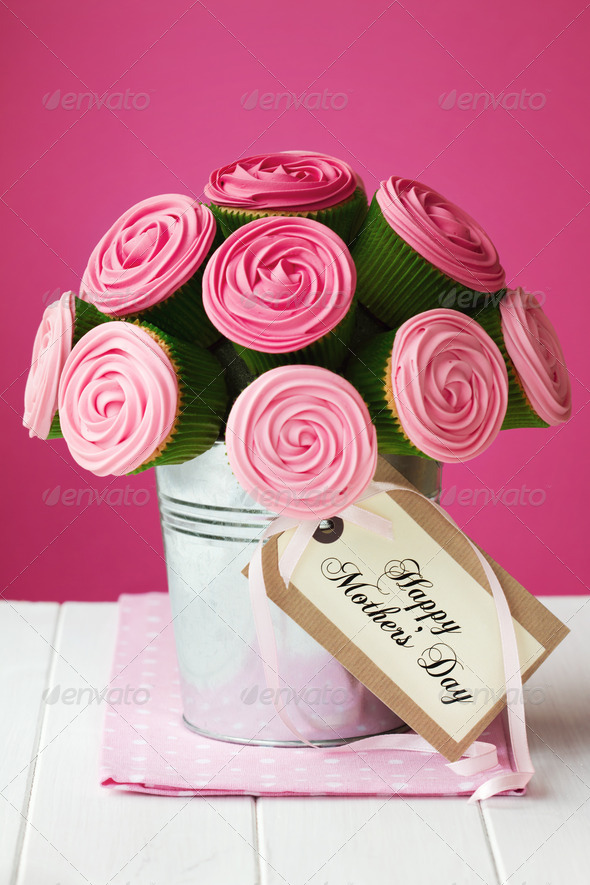 Mother's day cupcake bouquet - Stock Photo - Images
