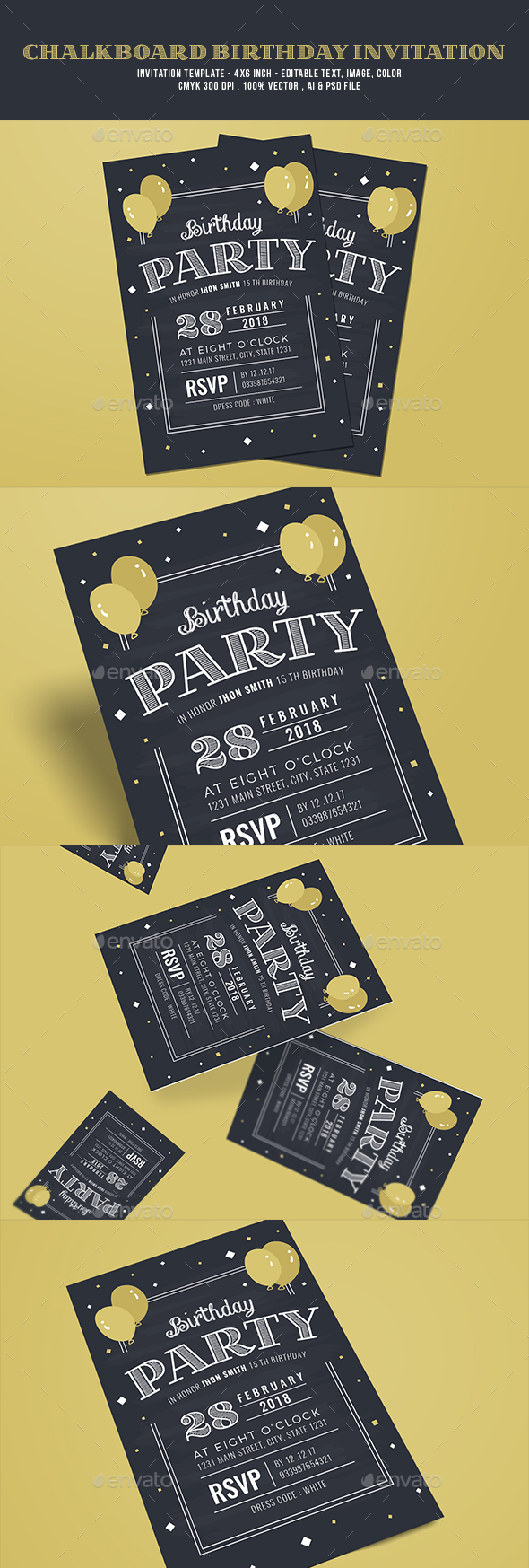 Chalkboard birthday invitation by guuver graphicriver chalkboard birthday invitation invitations cards invites filmwisefo