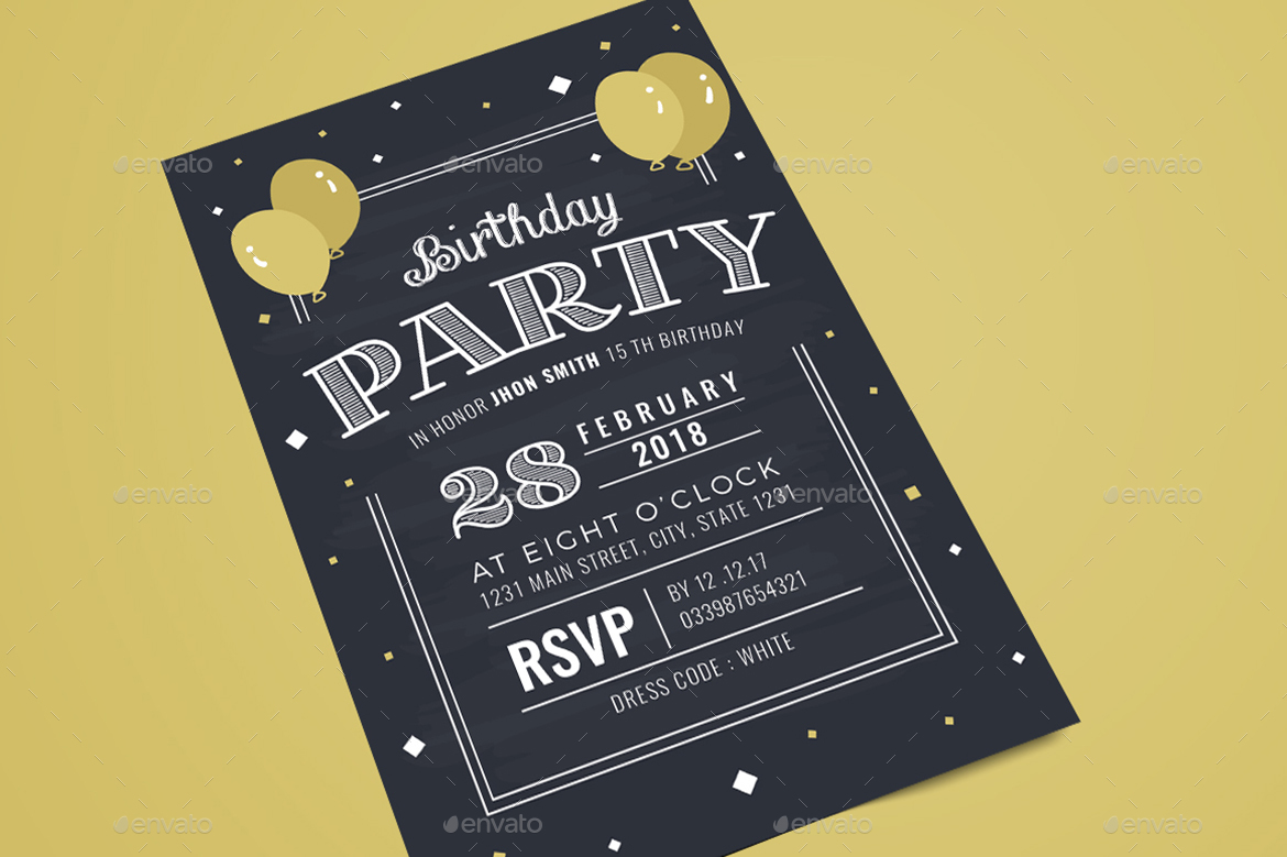 Chalkboard birthday invitation by guuver graphicriver preview image setinvitation distortg stopboris Image collections