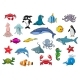 Cartoon Sea Fish and Ocean Animals Vector Icons
