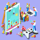 People Computer Video Game Gaming Isometric Vector Illustration - GraphicRiver Item for Sale