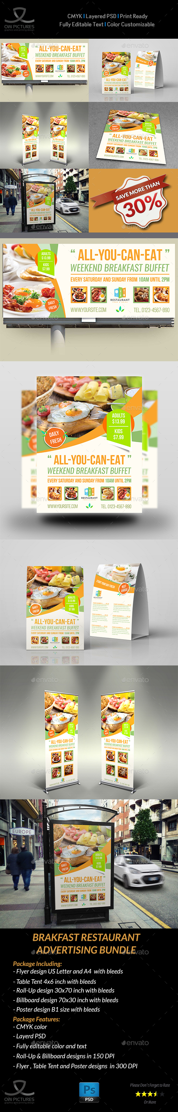 Breakfast Restaurant Advertising Bundle - Signage Print Templates