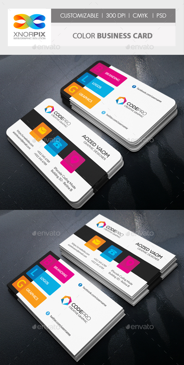 Color Business Card by -axnorpix | GraphicRiver