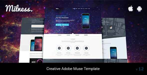 Milness – Showcase Mobile App Adobe Muse Template - Landing Muse Templates