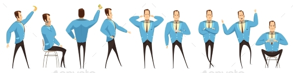 Businessman In Various Poses Set - People Characters