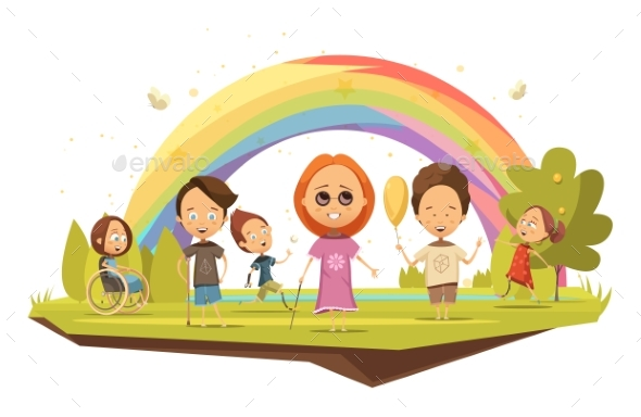 Disabled Kids Cartoon Style Illustration - People Characters