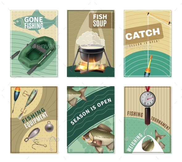 Freshwater Fishing 6 Posters Prints Collection - Nature Conceptual