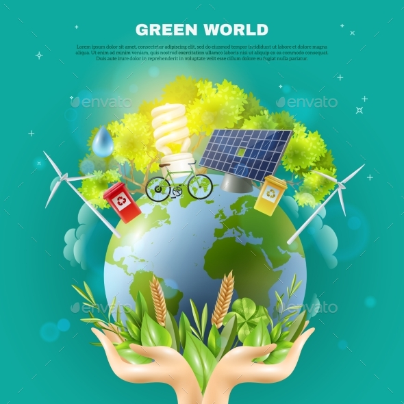 Green World Ecology Concept Composition Poster - Technology Conceptual