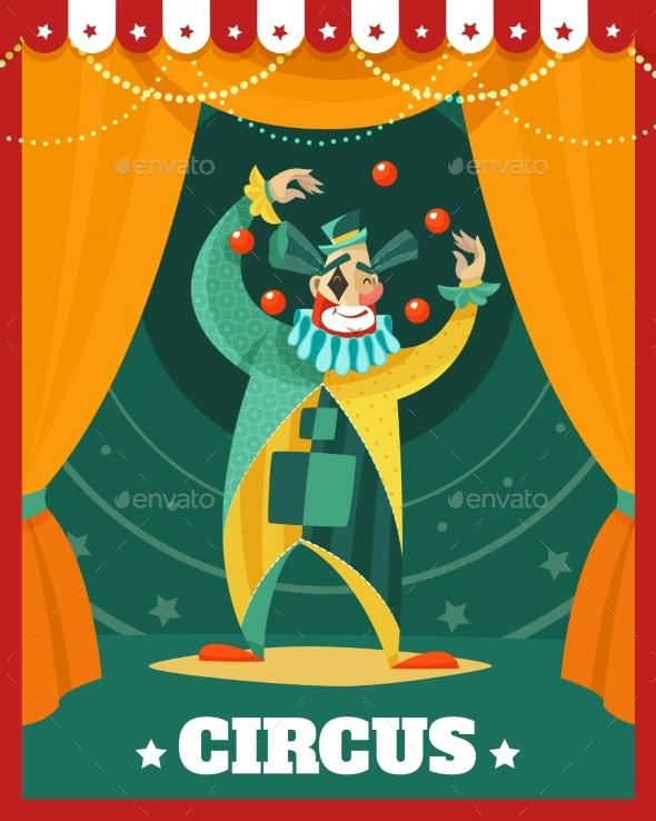 Circus Clown Juggling Performance Poster - Seasons/Holidays Conceptual