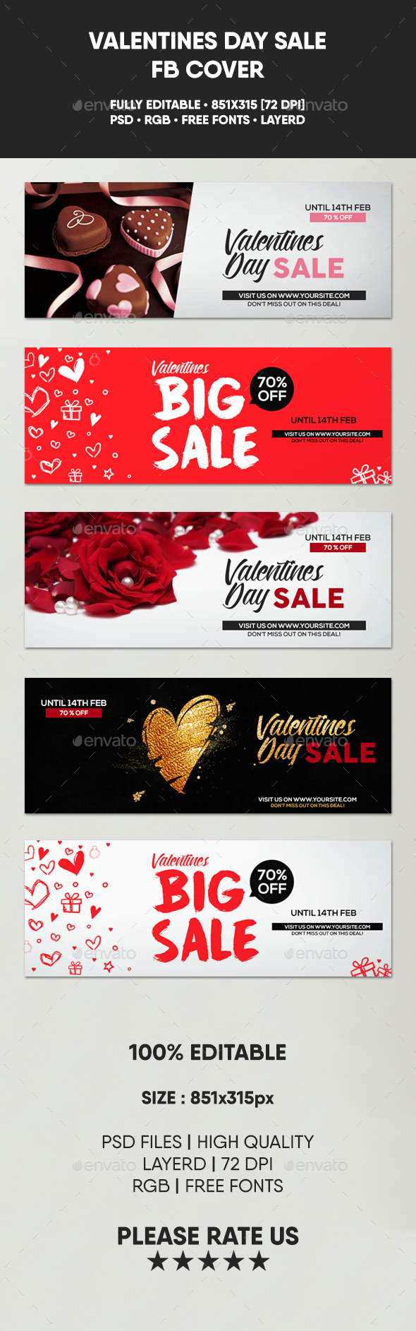 5 Valentines Sale Facebook Covers - Facebook Timeline Covers Social Media