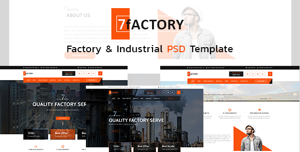 7fACTORY - Industrial & Manufacturing PSD Template - Corporate PSD Templates