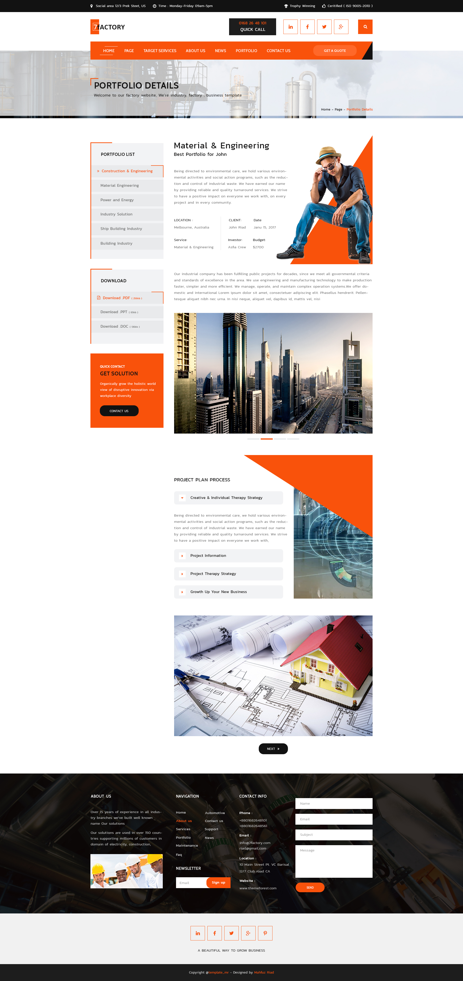 7factory Industrial Manufacturing Psd Template
