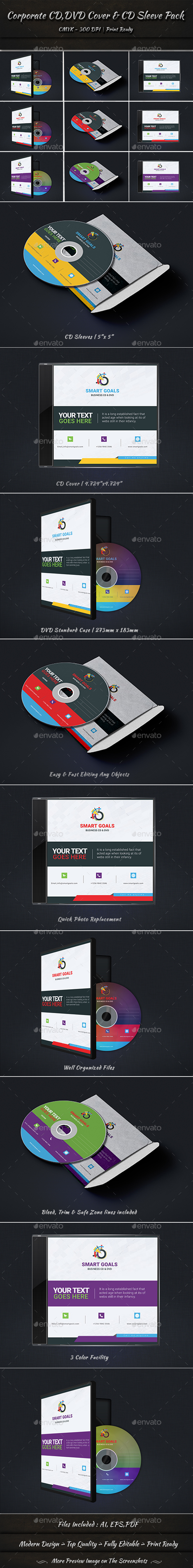Corporate CD DVD Cover & CD Sleeve Pack - CD & DVD Artwork Print Templates