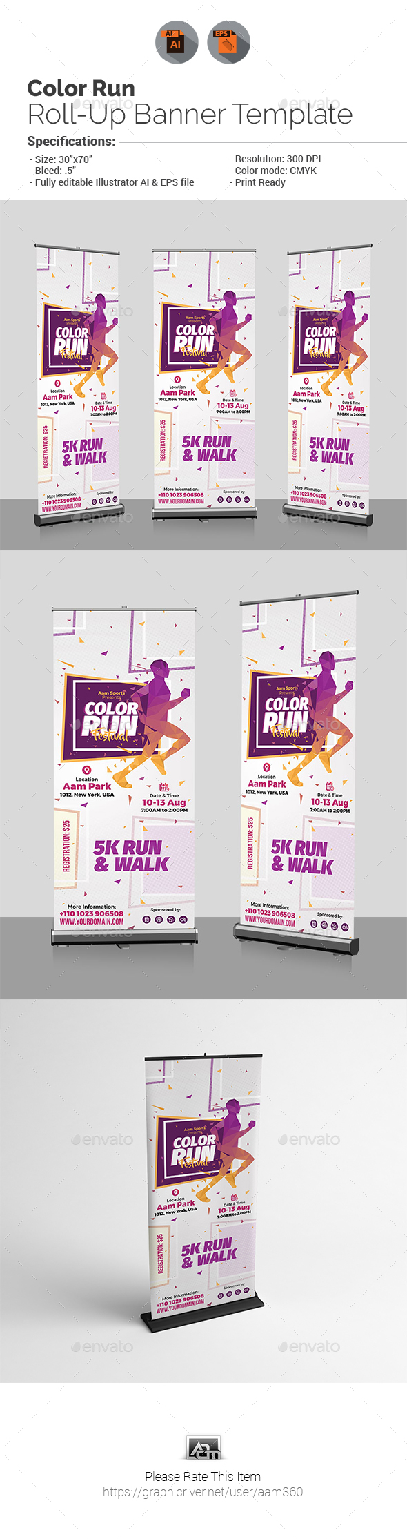 Color Run Roll-Up Banner Template - Signage Print Templates