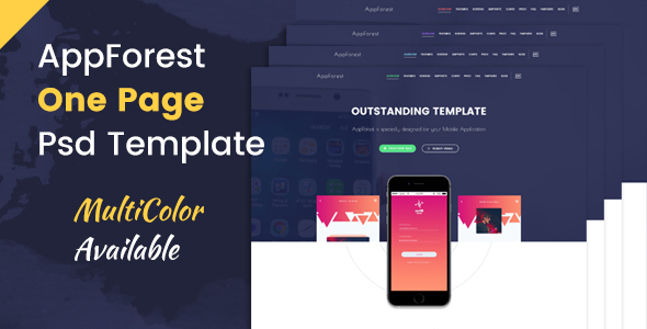AppForest – Awesome Mobile App PSD Template
