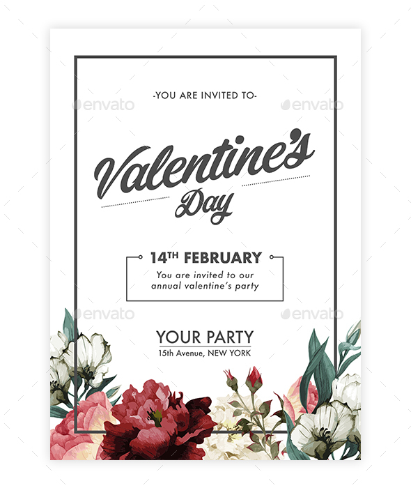 Valentine's Day Floral Invitation - Invitations Cards & Invites
