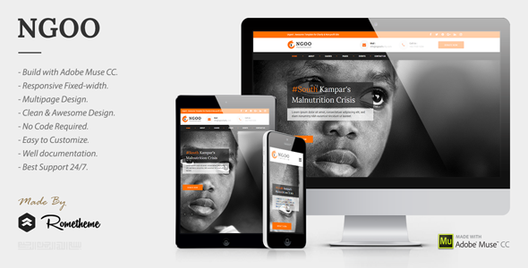 NGOO – Charity, Non-profit, and Fundraising Muse Template