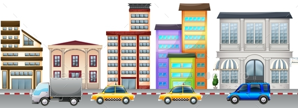 City Scene with Buildings and Cars on Road - Man-made Objects Objects