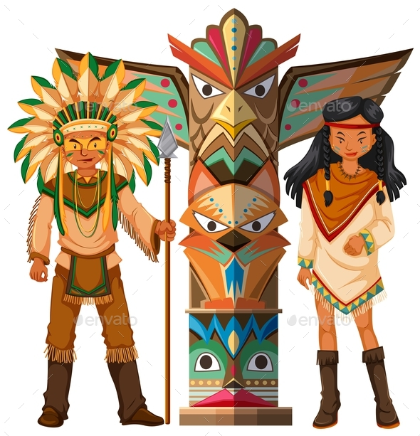Native American Indians and Totem Pole - People Characters