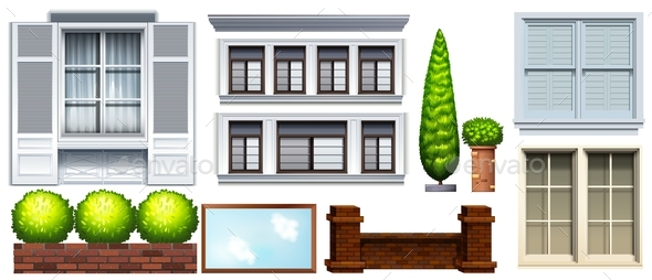 Set of Different Buildings and Fences - Miscellaneous Conceptual