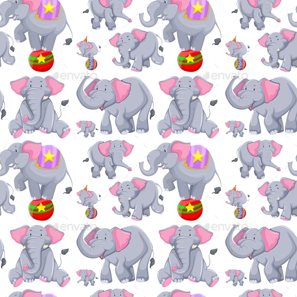 Seamless Background with Gray Elephants - Backgrounds Decorative